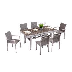 アルミニウム長い表の調節可能な野菜畑8の椅子のDinningの家具セットの外のテラス