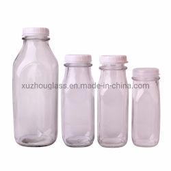 930ml 32oz Square transparente e a tampa do frasco de vidro de leite