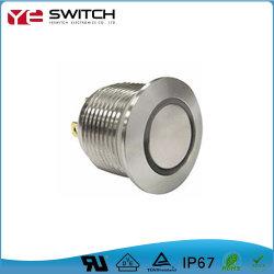 Interrupteur lumineux à LED sur la touche de verrouillage métal momentanée avec bouton poussoir étanche IP68