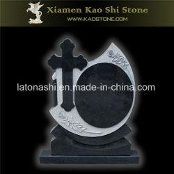 Pierre de granit noir absolu de football pour le jardin commémoratif objet tombstone