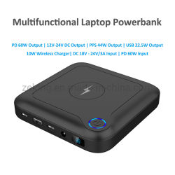24000mAh ポータブル USB C 高速充電ラップトップバッテリー充電器電源 ワイヤレス充電器付きのバンクステーション
