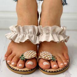 Frauen-Ebene-Hefterzufuhr-Sommer-beiläufige Flipflop-Blumen-Perlen-Frauen-flache Schuhe 35-43 Plusgrößen-bequeme weibliche Strand-Sandelholze