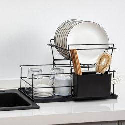 2 niveau plat format rack de séchage avec le plateau égouttoir ustensile titulaire organiseur de comptoir
