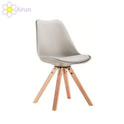 試供品の安い食堂の家具PUの革柔らかいクッションの椅子を食事するプラスチック椅子の現代デザイン木足