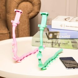 Cartoon Cute Worm Lazy Soporte de teléfono celular flexible flexible Soporte de teléfono con ventosa