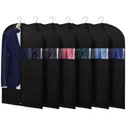 Commerce de gros de 40 pouces Non tissés personnalisés Heavy Duty fenêtre transparente de l'habillement des robes de stockage importante Shirts manteaux couvercle étanche aux poussières d'emballage costume sac du vêtement
