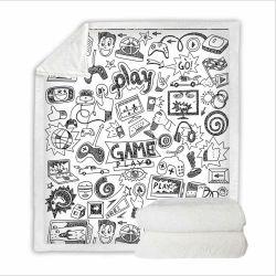 O inverno Sherpa cobertor com videogame impresso