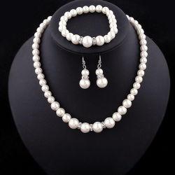方法結婚式の宝石類の標準的な野生の模造真珠のネックレスの花嫁のスーツの卸売のブレスレットの水晶イヤリングの宝石類セット