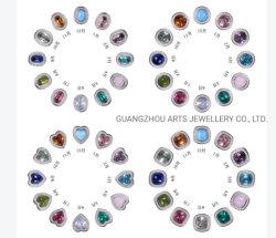 Diferentes formas Multi-Color Birthdaystone DIY encanto de plata
