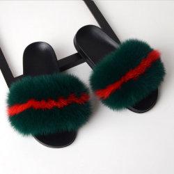 Logo personnalisé des couleurs plus chers des sandales Fashion Big en fausse fourrure femmes moelleux en PVC de diapositives de la fourrure de renard de gros de pantoufles pour la femme et le sac