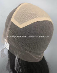 Wellenförmiges Menschenhaar-Schweizer Spitze mit elastischer voller Perücke