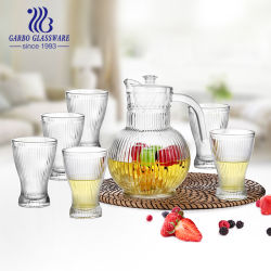 7PCS 컵이 있는 물 마시기 유리 용기 세트