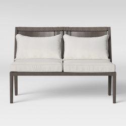 Pátio Cinza confortáveis simples Outdoor pequeno sofá-cama Cadeira de vime de Metal