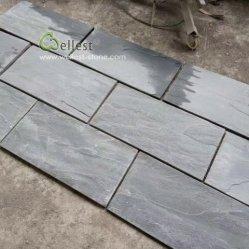 2019 fente naturel ardoise noire Patio carreaux en pierre de pavage