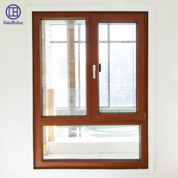 Madera/Aluminio Aluminio vidrio templado inclinar y girar la ventana de seguridad interior