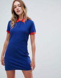 Freizeit-Polo-Kleid der Frauen blaue Baumwolldünnes
