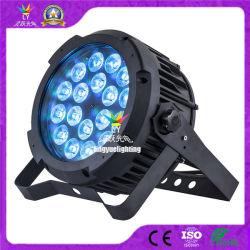IP65 방수 Rgbwauv 6in1 18X18W 실외 LED 플랫 파 캔