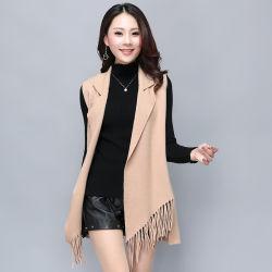 Últimos diseños de prendas de vestir Damas Casual Mujer Camiseta sin mangas de Jersey Cardigan Vest