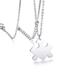 Freier Großhandelslaser gravieren kundenspezifische unbelegte Entwurfs-Edelstahl-Paar-Puzzlespiel-Marken-Halskette für Verkauf