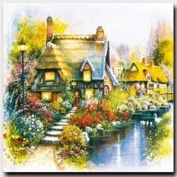Paisaje Natural de estilo europeo del paisaje de flores Decoración de pared ilustraciones Jardín lienzo pintura al óleo