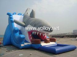 Grande ataque de tubarão Slides inflável com Piscina