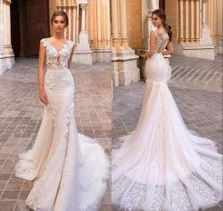 広がりのトレインのレースのテュルの花嫁の服のレースのテュルの婚礼衣裳Wdo96