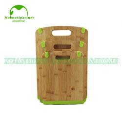 Conseil de hachage de coupe de bambou avec pieds en caoutchouc de silicone antidérapant