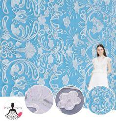 Blanc brodé de haute qualité Belle Fleur dentelle Guipure tissu de polyester