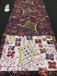 Высокое качество оптовой новый стиль устраивающих Блестящие цветные лаки Sequin свадебные платья Sequinкружевной ткани