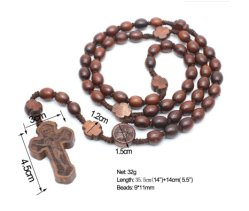 Traversa religiosa di legno della croce del rosario dei branelli di preghiera