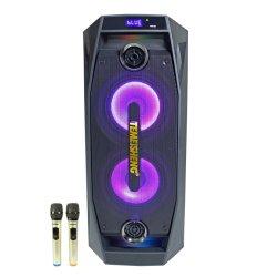 Mega Bass Tms-802 60W de potência nominal de 8 polegadas de Duplo Temeisheng DJ Karaoke Amplificador Portátil Carrinho altifalante sem fio Bluetooth