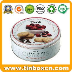 Boîte de rangement des aliments en métal Cookies ronde de l'étain pour l'Emballage de cadeau