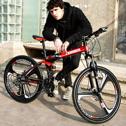 Directa de Fábrica plegable bicicleta plegable Bicicleta de Montaña 26, 24 pulgadas de velocidad variable de los hombres y mujeres de carreras todoterreno doble amortiguador bicicleta Bicicleta de Montaña