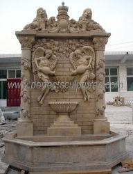 Fontein van de Muur van de Steen van de luxe de Marmeren met het Beeldhouwwerk van de Kolom van de Druif van de Leeuw van de Engel (sy-W243)