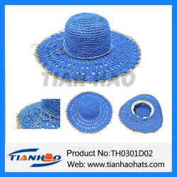 La moda Hand-Crocheted Dama Cloche amplia Brim disquete sombrero de paja