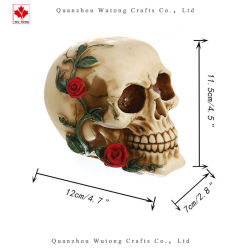 O Dia das Bruxas Rose Flower assustar decoração Arte de férias de cranio Embarcações de resina