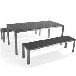 정원 알루미늄 플라스틱 목제 테이블과 벤치 옥외 전략 나무 가구