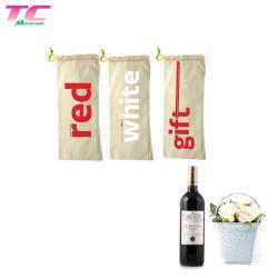 Nuevo estilo Logotipo personalizado embalaje vino de algodón Bolsa de transporte con cordón ajustable para el viaje