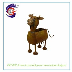 Classic Rusty Cow Flower Pot Crafts Per Garden Decorative