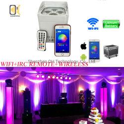 WiFi teléfono inteligente con pilas, 4*18W RGBWA inalámbrica UV LED DMX