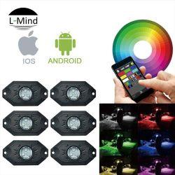 Commerce de gros 6PCS Autos Multi-Color LED RVB de Bluetooth du ramasseur de la musique Rock Rock léger de bateau de pêche de la lampe