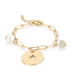 Clip de acero inoxidable de la cadena de piedra de la perla colgante de la Moneda de la brújula ajustable Pulsera Collar Conjunto de joyas de la mujer