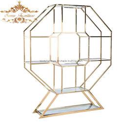 Ereignis-Hochzeits-Entwurfs-Edelstahl-Metallrahmen-hohe Glasspitzenstab-Rückseite