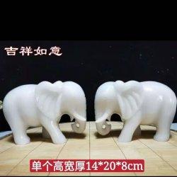 Natürliches Jade-Schnitzen eines Paares des kleinen Elefant-Jade-Schnitzens