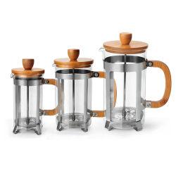 De Franse Pers van de Maker van de Thee van de Koffie van het Glas van het Roestvrij staal van Drinkware 300/600/800/1000ml met het Deksel van het Bamboe