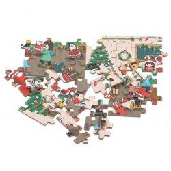 60PCS Natal Madeira Santa Claus DIY Puzzle Brinquedos Kids quebra-cabeças para o presente de Natal