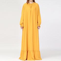 O OEM/Slanna ODM Novo Projeto Senhoras Maxi mangas longas uma linha sólida com comprimento total Plus Size Boho Noite mulheres vestido Longo