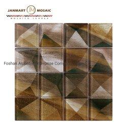 Carrelage en mosaïque de verre jaune Nouveau design Retour Splash Mosaïque Mosaïque Art Wall Tile