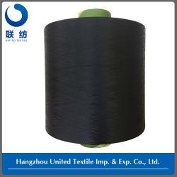 ポリエステル編むことのためのドープ塗料によって染められるフィラメントDTYヤーン(150D/48F NIM)の黒