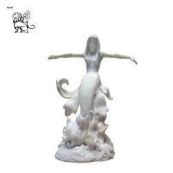 Usine chinoise sculpté à la main la sculpture en marbre blanc naturel Mermaid Masg-34